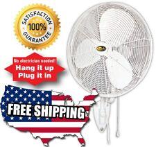 24 Oscillating Fan 3 Speed Indoor Outdoor Wall Mount Fan Greenhouse Garage Shop