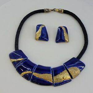 Signed Carol Halmy Hand Made Porcelain Blue Gold Necklace Cord