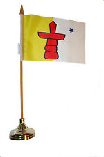 """NUNAVUT CANADA TERRIT.4"""" X 6"""" in. stick flag with GOLD STAND on 10"""" plastic pole"""