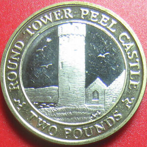 2004 ISLE OF MAN 2 POUNDS PEEL TOWER CASTLE BI-METAL RARE COIN! 23mm (no silver)