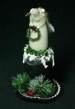 Hand-Crafted Primitive Felted Wool Mouse On Stovepipe Snowman Hat