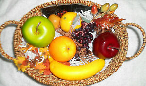 Holidays Fake Fruit 8 Pieces In A Decorative Brown Wicker Basket With Handles...