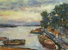 Art Oil Original Painting RM Mortensen Landscape Seascape Boats Impressionism