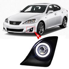 Full Fog Light Kit Black Cover COB Angel Rings Projector Lens for Lexus IS250