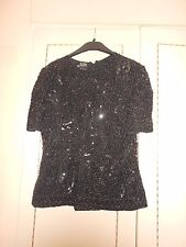 Stunning Black Designer Silk Beaded Blouse by RARE Fully Lined Size Large BNWOT