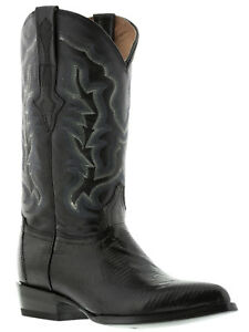 Mens Western Cowboy Leather Boots Black Real Lizard Skin J Toe Botas