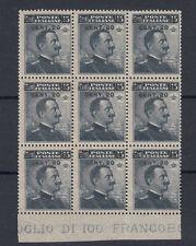 REGNO 1916 VITTORIO EMANUELE III SOPRASTAMPATO BLOCCO DA 9 G.I MNH** BORDO F.