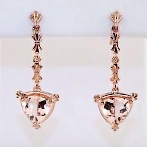 Morganite Earrings Trillion Dangle 14K Rose Gold Fabulous Quality