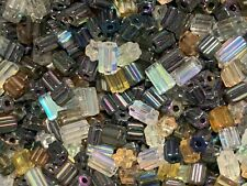 Beads Mixed Cylinder bugles 4x4 mm and 6x4 mm Mixed Colours Czech Glass 1/2 lbs