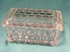 RARE Fostoria American cubo vetro Jewel box con coperchio