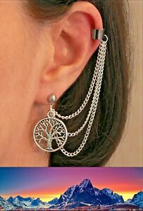 White Tree of Gondor Lord of the Rings Silver Ear-Chain Cuff Middle Earth Gift