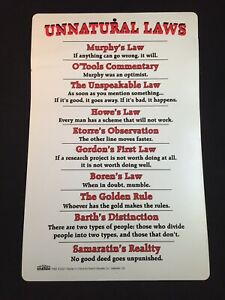 Vintage 2001 Unnatural Laws Sign Wall Hanging by Notch Sign Center