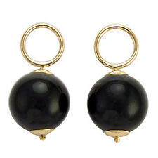 Pendant Charms Add to Hoop #E788 14k Solid Yellow Gold 10mm Onyx Earring
