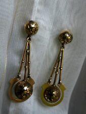 Antique Victorian AestheticTaille D'Epargne Enamel Pendant Earrings in 14k Gold