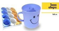 Set 12 Pezzi Tazza Allegra Tazzone Smile Colorate Plastica Latte Colazione dfh