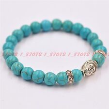 Natural turquoise 8 mm beads Tibet silver Buddha beads bracelet 7.5 inches