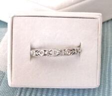 7 Diamonds 3.3Mm Wide .21Tcw Size 7 Gorgeous Flower Bud 14K White Gold Band