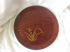 "Wood Plate Tea Tray w/ Oriental Orchid Design by ""Gold Craft MFG"""