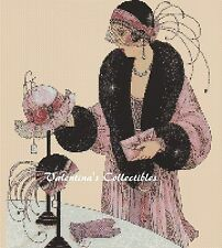 Cross Stitch Chart Art Deco Lady in a Hat Shop -  No.1-123 (Large Print)