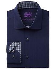 $275 MICHELSONS LONDON Men's SLIM-FIT BLUE HERRINGBONE LONG-SLEEVE DRESS SHIRT M