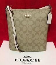 NEW COACH SIGNATURE PVC NS CROSSBODY BAG LIGHT KHAKI/CHALK F58309 $195