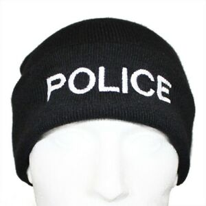 1 x Quality POLICE Branded Beanie Woolly Hat in Black ideal for PCSO POLICE