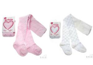 Baby Girls Tights White Pink Cream Diamond Tiny Hearts Christening Wedding 0-24M