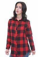 Womens Checked Shirt Ladies Red & Black Plaid Check Casual Shirt Summer Tops UK