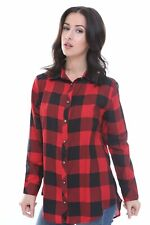 Womens Checked Shirt Ladies Red & Black Plaid Check Casual Shirt Summer Tops UK