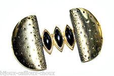 ORENA Broche couleur or cabochon noir bijou brooch