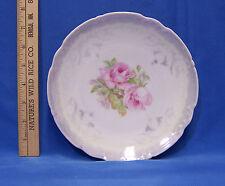 "Vintage German Germany Decorative Collectors Plate Pink Rose Green Purple 8"" Dia"