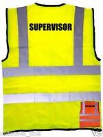 SUPERVISOR Hi Vis HIGH Vis Safety VEST S to 4XL ORANGE / YELLOW Waistcoat EN471