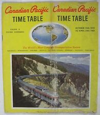 Vintage 1959-60 Canadian Pacific Railroad Time Table