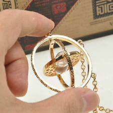 HARRY POTTER GOLD PLATED TIME TURNER NECKLACE~Spinning Pendant~Sand Hourglass