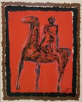 MARINO MARINI Original Signed Lithograph Painting - Le Cavelier 1955 - Framed