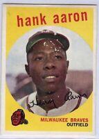 Hank Aaron 1959 Topps Vintage Baseball Card #380 Milwaukee Braves