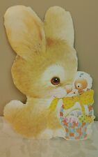 Vintage Eureka EASTER Die Cut Out Decoration Bunny with Basket &  Colored Eggs