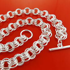 Necklace Chain Real 925 Sterling Silver SF Solid Ladies Antique Link Tbar Design