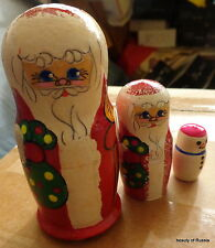 Christmas Santa Snowman Wood Hand painted Russian Nesting Doll 3 Pcs#4s