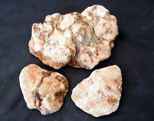 x3 Medium Size Pieces of Flat Pink Alabaster Natural Rock