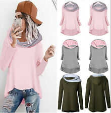UK Women Asymmetric Pullover Jumper Hoodies Hooded Sweatshirt Ladies Sweater Top
