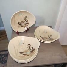 "Seven (7) Red Wing Pottery Bob White Quail 8.25"" Soup Bowls w/ Lug Handles"