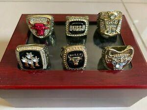 6 MICHAEL JORDAN CHICAGO BULLS CHAMPIONSHIPS RINGS WITH DISPLAY BOX