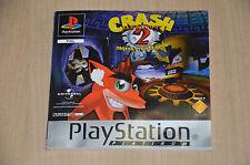 notice UNIQUEMENT pour le jeu Crash Bandicoot 2 PS1 - PAS LE CD NI LA BOITE