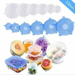 12 Pack Silicone Stretch Lids Reusable Fresh-Keeping Cover Food Storage Covers