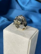 Exclusive Skull Design 9 CT Yellow Gold Ring Iced Out Cubic Zirconia Stones