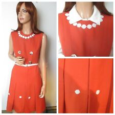 Vintage 1960s UK14 Red Pure Wool Lined Button Detail Mod Shift Dress Floral Trim