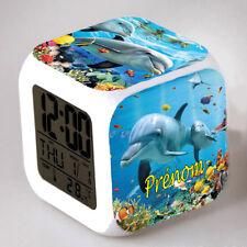 Reveil cube led lumière nuit clock dauphin personnalisé prénom réf 30