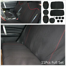 11Pcs Full Set Black + Red Car Seat Cover Low Front & Rear Seat Covers Universal