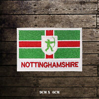 NOTTINGHAMSHIRE Flag With Name Embroidered Iron On Sew On Patch Badge